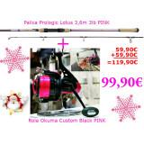 Komplet Palica Prologic Lotus in Rola Okuma Custom Black PINK