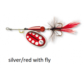 Spinner Cormoran Bullet Long Cast silver/red fly št:1-4