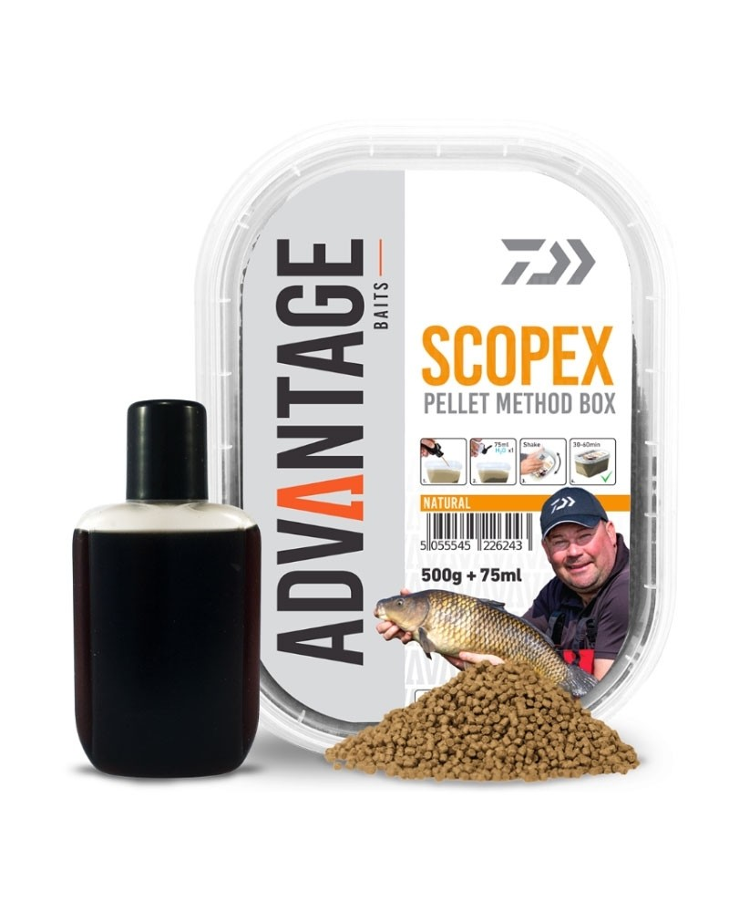 Peleti Daiwa Advantage Baits Scopex Pellet Method Box