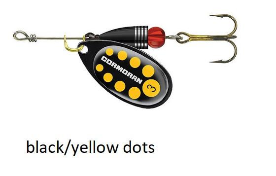 Spinner Cormoran Bullet Long Cast black/yellow dots št:1-4