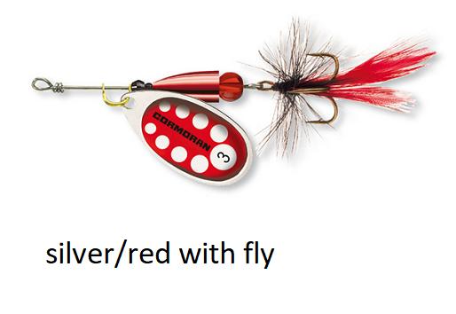 Spinner Cormoran Bullet Long Cast silver/red fly št:1-4